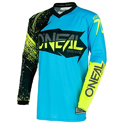 O'Neal Element Burnout MX Motocross Maglia Enduro Off-Road Terrain Quad Cross Adulto, 0008, Blau, L