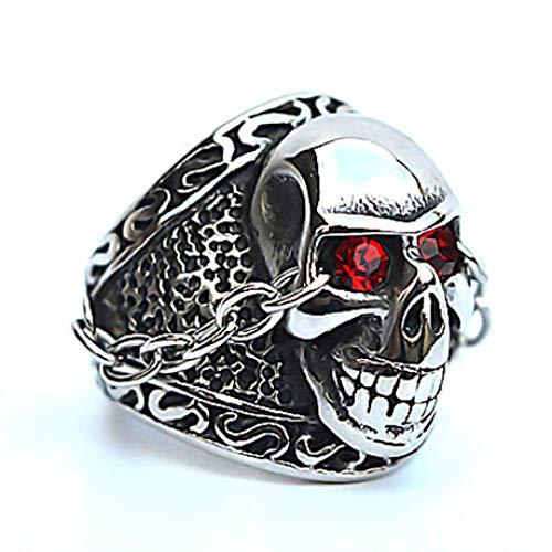 JY Anillo de calavera con ojos rojos de acero titanium para hombre regalo / 18mm