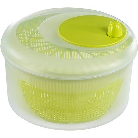 Xavax Essoreuse à salade (avec manivelle, diamètre 26 cm, séchoir à salade avec tamis, utilisable aussi comme clé pour laitue et passoire) Transparent/Vert