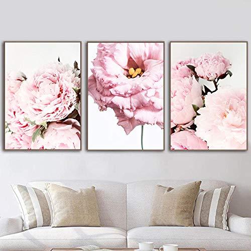 VVSUN Arte de Pared Moderno Carteles de peonía Impresión de Arte Floral Botanique Pintura de Lienzo Imágenes escandinavas Decoración de Sala de Estar 40X50cm 16x20inchx3 Sin Marco