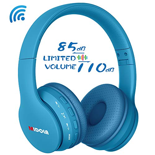 Midola Volume Limited 85dB Kids Headphone Bluetooth Wireless Over Ear Foldable Stereo Sound Noise Protection Headset with AUX 3.5mm Cord Mic for Boys Girls Cellphone Ipad Tablets TV PC Blue