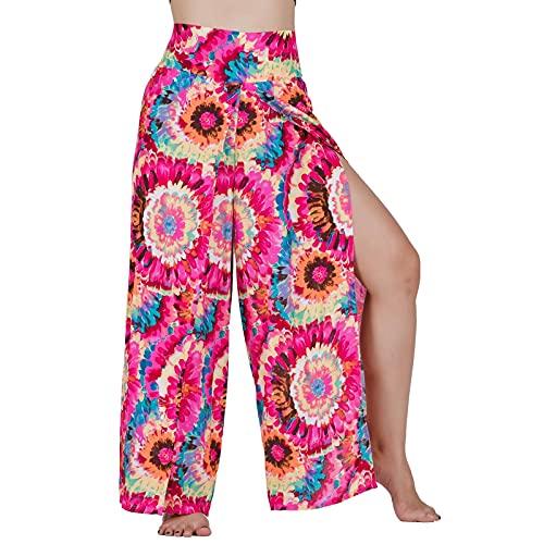 Lofbaz Slit Leg Palazzo Pantalones de Yoga para Mujeres niñas Maternidad Verano Playa Pijama de Cintura Alta Boho Harem Strawflower Rosa S