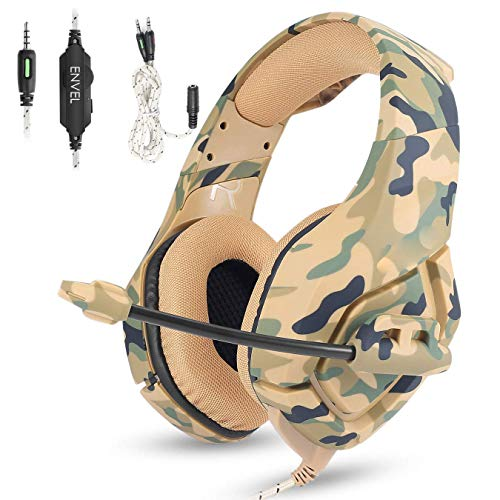 Gaming Headset with Mic for PS4 Xbox One Controller,Noise Cancelling Over Ear Headphones with Microphone,Bass Surround,Skin-Friendly Earmuffs for Laptop PC Mac iPad and Smart Phones -3.5mm Camouflage Accessories Headsets