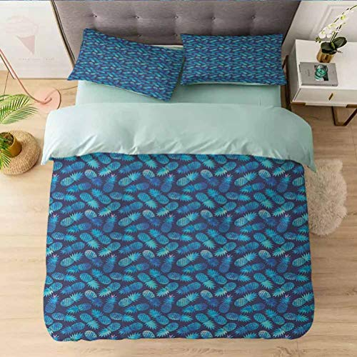 Aishare Store Bedding Duvet Cover Set Full, Tropical Hawaiian Pine in Blue Shades Hipster Exotic Summ, Printed 3 Piece Duvet Cover Reversible 2 Pillow Shams Ultra Soft with Zipper Closure