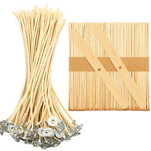 150 Pieces Hemp Candle Wicks and Wooden Candle Wick Holder Set, Beeswax Candle Wicks Candle Centering Device Candle Centering Tool for Candle Making DIY Kit