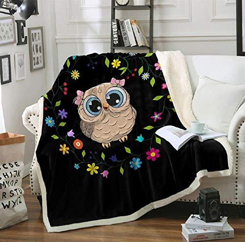 HLL Sherpa Decke Flanell 3D gedruckte Cartoon Eule Mikrofaser Sherpa Fleece Decke Weiche Dicke Wohnzimmerdecke Tagesdecke Sofadecke Geeignet für Kinder und Erwachsene
