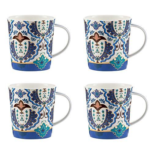 Jameson & Tailor – Juego de 4 Tazas Mugs de porcelana brillante, modelo « Masuria » - Tazas de té o de café – Azul y Naranja - Capacidad 410ml - Resistentes a los lavavajillas y microondas