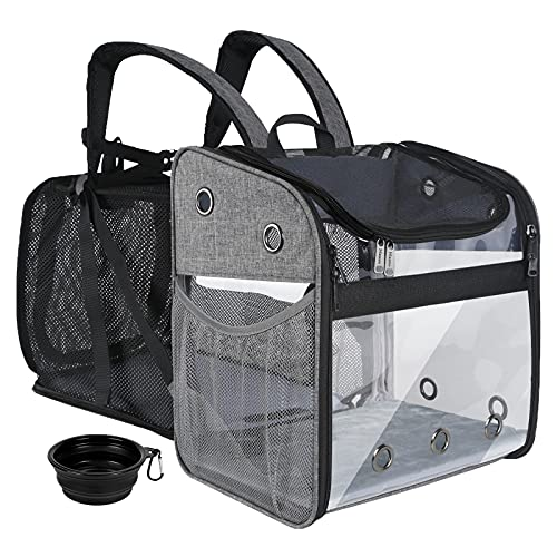 Mancro Cat Backpack, Expandable Pet Carrier Backpack, Dog Backpack Carrier for Small Dogs, Cats, Puppies and Rabbits 15lbs, Clear Cat Travel Backpack Bag for Hiking, Camping, Outdoor Use