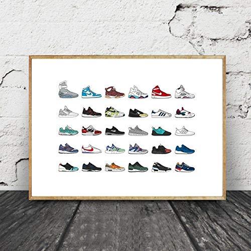 Non-branded Moderne Wand Bilder Sortiert Sneaker Poster und Kunstdrucke skandinavische Leinwand Bild Sammeln Sie Gemäldewerke Wandbilder für Wohnzimmer Dekor 40x60cm ohne Rahmen