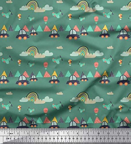 Soimoi Green Rayon Fabric Car,Cloud & Airplane Cartoon Print Sewing Fabric Yard 42 Inch Wide