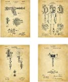 Tattooing Patent Wall Art Prints - set of Four (8x10) Unframed - wall art decor for tattoo artists