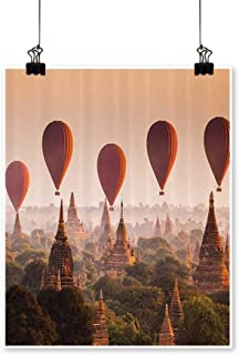Canvas paintingHot Air Ballo Over Plain of Bagan in Misty Morning Myanmar mous Heritage Artwork for Living Room Decorations,24