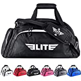 Elite Sports Boxing Gym Duffle Bag for MMA, BJJ, Jiu Jitsu Gear, Duffel Athletic Gym Backpack with Shoes Compartment (Black, Large)