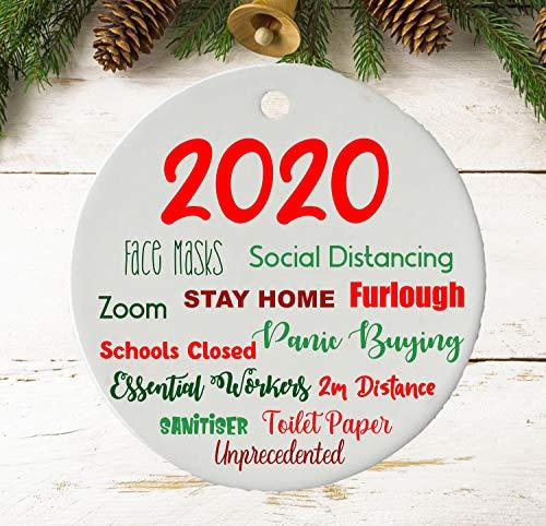 None-brands 2020 Christmas Tree Ornaments 2020 Christmas Ornament Keepsake   Lockdown Bauble Tree Decoration   Pendant   Ceramic   Quarantine   Pandemic   Coronavirus   Cute Ceramic