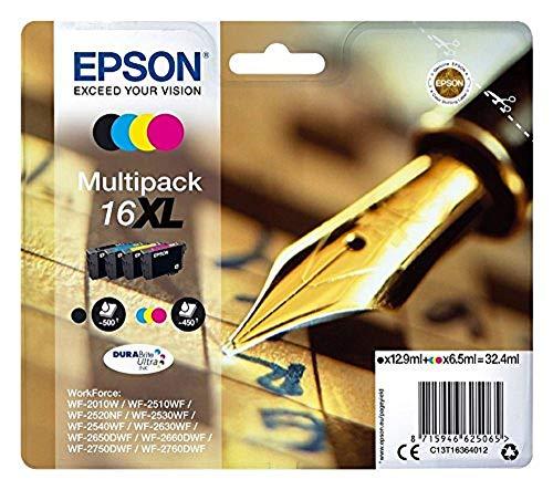 Epson WorkForce WF-2540 WF (16XL / C 13 T 16364010) - original - Tintenpatrone MultiPack (schwarz, cyan, magenta, gelb) - 32,4ml