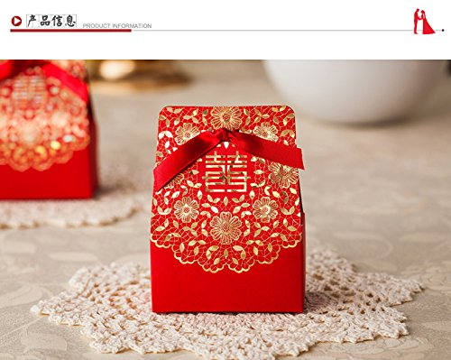 Joinwin® 50 pcs Double Happiness Design Chinese Red Candy Box, Classical Wedding Candy Boxes, Wedding Favor Gift Box With Ribbon,