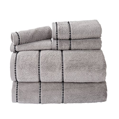 Luxury Cotton Towel Set- Quick Dry, Zero Twist and Soft 6 Piece Set With 2 Bath Towels, 2 Hand Towels and 2 Washcloths By Lavish Home (Silver / Black)