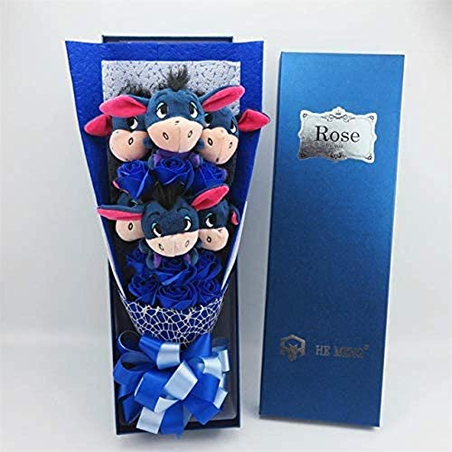 Leuke Zachte zeep met ezel Iejoor Boeketten Cartoon dingen Dieren Knuffels Creative Valentine/Graduation Gift Deep Blue