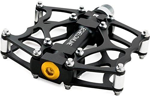 Pedales de Bicicleta de Montaña Echelonline, MTB Pedales para Bicicleta Planos de Aleación de Aluminio (5% cupón de Descuento 489O2EXL) … (Negro)
