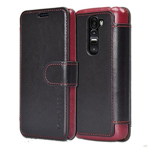 Mulbess Handyhülle für LG G2 Mini Hülle Leder, LG G2 Mini Handy Hüllen, Layered Flip Handytasche Schutzhülle für LG G2 Mini Hülle, Schwarz