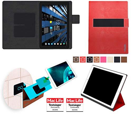 Hülle für Archos Diamond Tab 2017 Tasche Cover Hülle Bumper | in Rot Leder | Testsieger