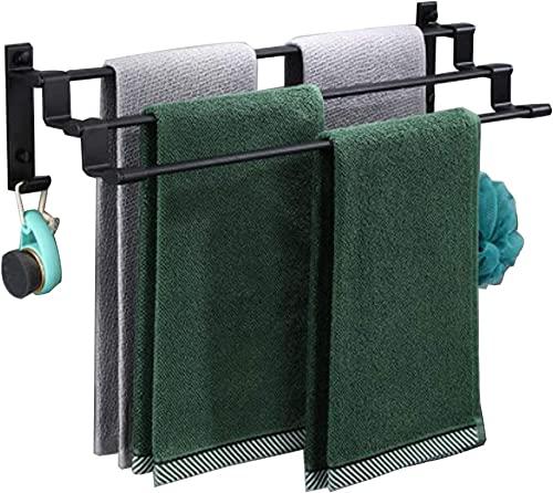 YIHANGG Porta Asciugamani per Bagno, 30–60 cm, Montaggio a Parete, Scala portasciugamani con 2 Ganci per Appendere, Resistente, Alluminio, Porta Asciugamani Nero per Bagno, Hotel, 1 Asta - 60 cm