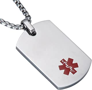 LiFashion LF 316L Stainless Steel Sos Emergency ICE Customized Personalized Medical Alert ID Dog Tag Pendant Caduceus Necklace for Men Women,Free Engraving