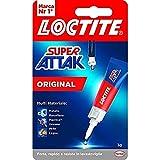 Loctite Super Attak Original, Colla Liquida Trasparente con Tripla Resistenza e Istantanea, Colla Resistente per Gomma, Metallo, Ceramica, Legno, Cuoio, Pelle, 1 x 3 g