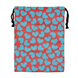 engzhoushi Mochila de Cuerda,Bolsa de Cuerdas Dust-Proof Drawstring Storage Pouch Bag Cute Hearts Red Pattern Custom Travel Lingerie Organizer