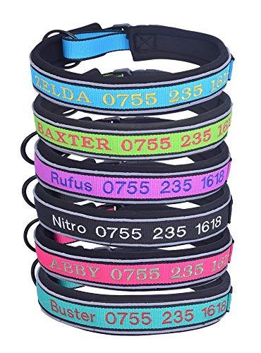 Mihqy hundehalsband Personalisierte Hundehalsband - mit Namen Bestickt Telefonnummer Pet Halsband - Eva Gepolsterte Hundehalsband - Reflektierend, verstellbar, für Kleine, mittelgroße und große Hunde