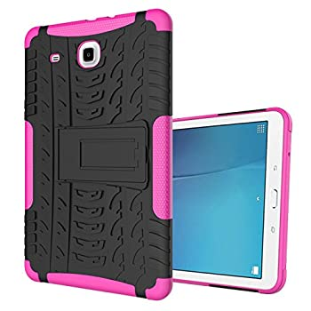Galaxy Tab E 9.6 Case Ankoe Heavy Duty Hybrid Slim Dual Layer Rugged Rubber Armor Defender Shockproof Protective Case with Kickstand for Samsung Galaxy Tab E 9.6 Inch SM-T560 Tablet  Pink
