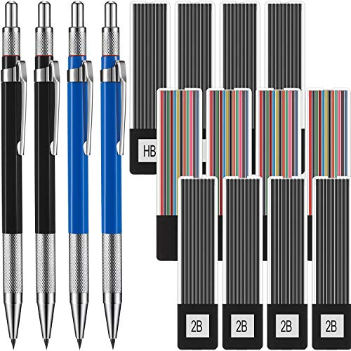 4 Pieces 2.0mm Metal Mechanical Pencils Set Refillable Automatic Pencils with 12 Cases Black (HB and 2B) and Colored Lead Refills for Drafting, Drawing, Writing, Crafting, Art Sketching