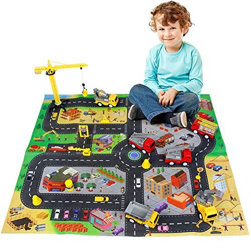 Fajiabao Costruzioni Macchinine Giocattolo per Bambini con Tappeto Bambini e Camion Pompieri Gru Giocattolo Regalo Giochi Educativi per Ragazza Ragazzo 3 4 5 Anni
