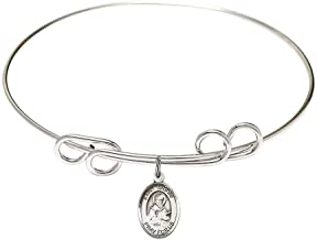 8 inch Round Double Loop Bangle Bracelet with a St. Isidore of Seville charm./Saint Isidore of Seville is the patron saint of Computers/Internet. Memorial Day April 4th./Computers/Internet