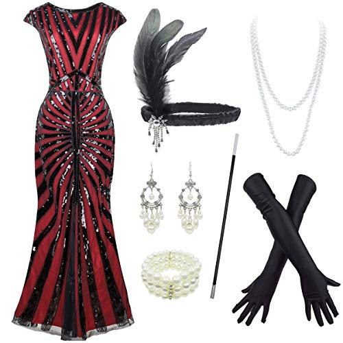 1920s Long Prom Dresses V Neck Beaded Sequin Maxi Dress with Accessories Set (XX-Large, Style02-Black&Red)