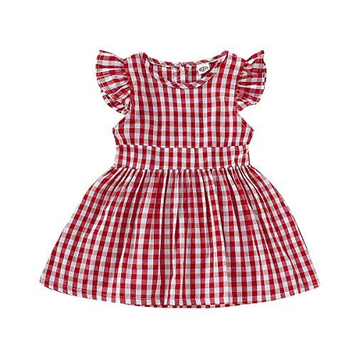 Haokaini Mameluco del Vestido de la Colmena de la Tela Escocesa a Juego de la Familia de los Gemelos, Falda roja de Las Hermanas Onesie para el Infante (Color : Big Sister, Size : 18-24M)