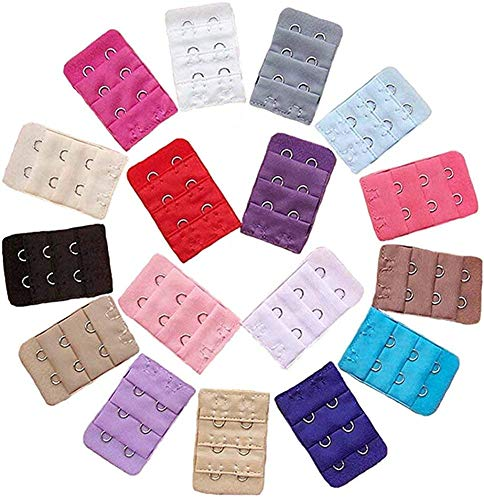 BOOLAVARD ® 12 Stück farbig sortiert Frauen 2-Haken 3 Reihen Abstand Bra Extender Strap BH-Erweiterung von Boolavard ® TM
