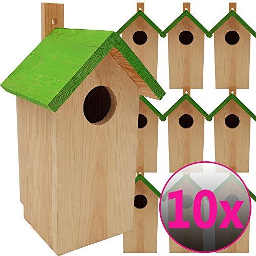 DILUMA Nistkasten Green 10er Pack 23 x 10 x 10 cm aus FSC Holz Nisthaus perfekt für Meisen Kohlmeisen Kleiber Rotschwänzchen und weitere Vogelarten Vogelnistkasten