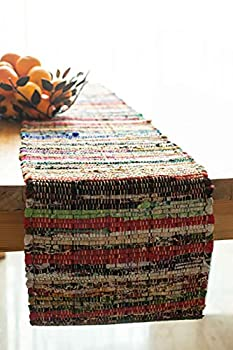 Chardin home Eco Friendly Rainbow Multi Chindi Colorful Table Runner Size  13  x72   Multi Color