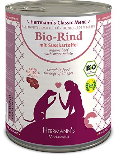 Herrmanns Bio Hundefutter Rind Menu 2 mit Süßkartoffeln, Kürbis 800 g, 6er Pack (6 x 800 g)