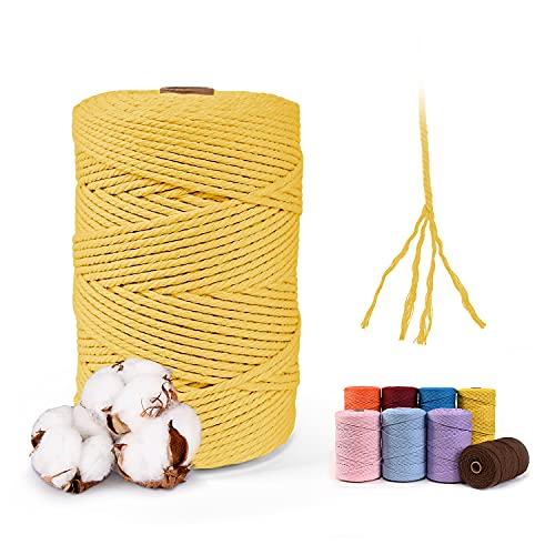 MAXEE Hilo de macramé, 3 mm x 200 m, 100% algodón, cuerda de algodón natural, cuerda de algodón,...