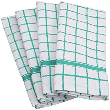 DII Cotton Terry Windowpane Dish Towels, 16 x 26  Set of 4, Machine Washable and Ultra Absorbent Kitchen Bar Towels-Aqua