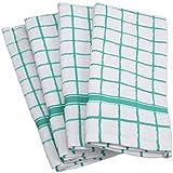 DII Cotton Terry Windowpane Dish Towels, 16 x 26' Set of 4, Machine Washable and Ultra Absorbent Kitchen Bar Towels-Aqua
