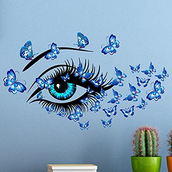 Amaonm Removable DIY Creative 3D Beautiful Girl Blue Eyes Flying Butterfly Wall Decals PVC Home Wall Stickers Murals Decorative Home Decor Bedroom Decorations Art Decal Nursery Room Stickers