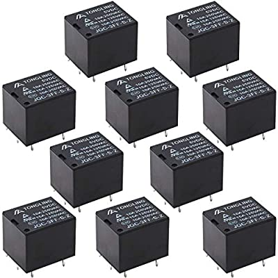 Tnisesm/10pcs PCB Power Relay DC 5V Coil SPDT 5 Pins Mini Electromagnetic PCB Relay T78-5P-5V-BK