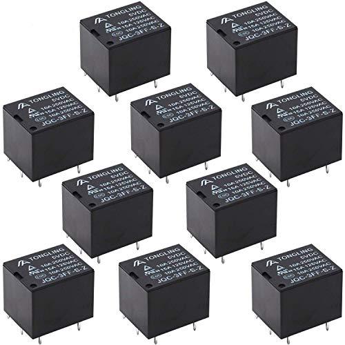 Tnisesm/ 10Stück PCB Leistungsrelais DC 5V Spule SPDT 5 Poliges Mini Elektromagnetisches PCB Relais T78-5P-5V-BK