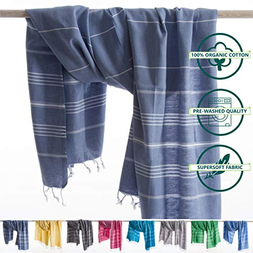 ANATURES Hamamtuch - Strandtuch 95x185cm Playa | Pre-Washed - Oeko-TEX® - Fairtrade - Gekämmte Bio Baumwolle | Saunatuch Badetuch Duschtuch Pestemal Fouta Pareo XL (Denim blau)