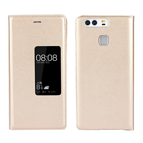 Jaorty Huawei P9 Case Ultra Thin Flip Cover Case Window View Stand Feature Leather Phone Case for Huawei P9,Gold