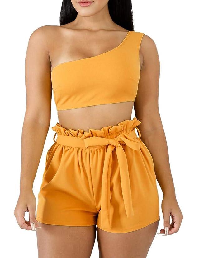 BORIFLORS Womens Sexy 2 Piece Set One Shoulder Crop Top Ruched Shorts Club Jumpsuit