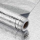 iKINLO Aluminium Ölbeständige Folie Selbstklebende Küchenfolie Hitzebeständig Klebefolie Wasserdicht 61 x 500 cm DIY Tapete Folie für Küchen Arbeitsplatte Küchenwand Küchenschrank